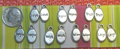 Charms / Drops Inspirational Antique Silvertone ~ Lot Of 14 Pcs.~Oval~One Sided