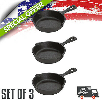 Cast Iron Skillet  Seasoned 3,5  Inch Oven Cookware Stove Pans Handle USA Made