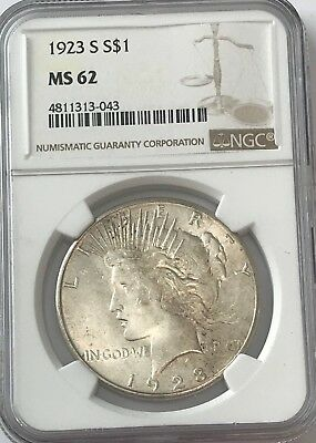 1923-s NGC MS62 PEACE Silver Dollar LITE GOLDEN TONING MS 62 #043