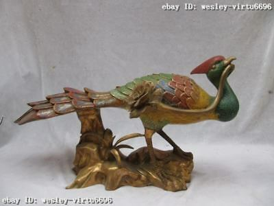 Chinese 100% Pure Bronze Handwork cloisonne peacock peafowl Bird Play flower