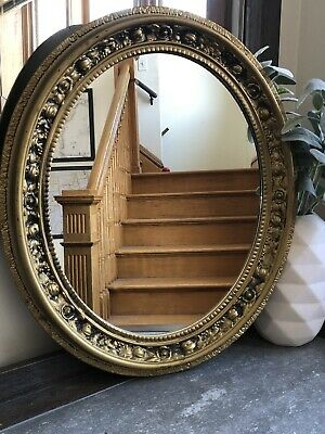 Oval Vintage Mirror Wedding Picture Plastic Hollywood Regency Mid-Century Chic