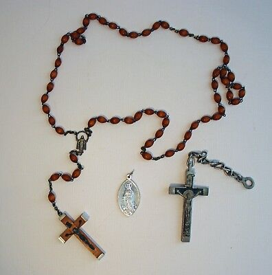 Vintage Religious Lot: Missionhurst Italy Rosary, Watch Fob Crucifix and Medal
