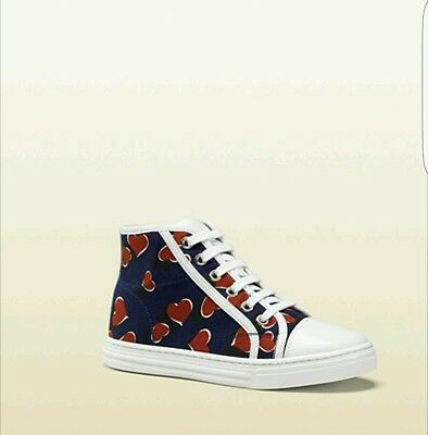 1e838709c2a NIB NEW Gucci girls navy red heartbeat print sneakers 30 31 32 311496