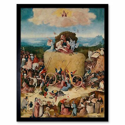 Hieronymus Bosch Hay Wain Old Master Painting 12X16 Inch Framed Art Print