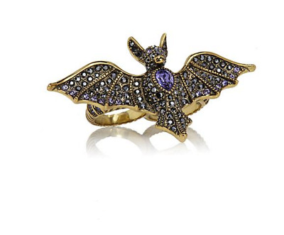 Heidi Daus Batty For You Crystal-Accented 2-Finger Ring Sz 7-8 CONVERSATIONAL PC