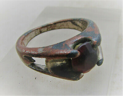 Beautiful Post Medieval Vintage Antique Decorative Ring With Red Stone