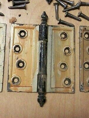 set 6 antique cast iron hinges with turnip style tips originals