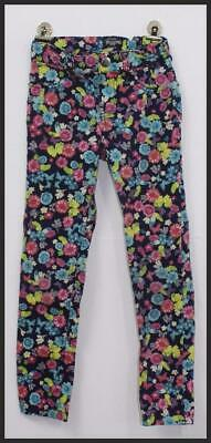 PLACE JEGGING Youth Girls Black Floral Stretch Extensible Print Pants Sz 6X/7