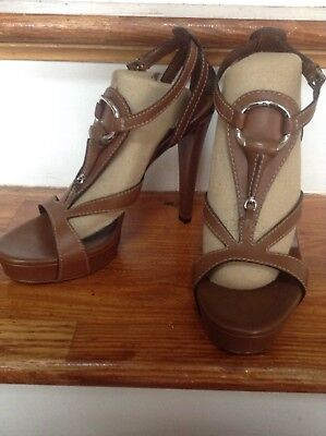 305f634fdec Gucci Lifford Cuir Brown Leather T Sandals Platform Heels 36.5 6.5 Horsebit  Bkl