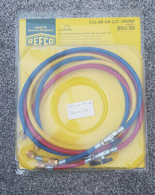 """REFCO CCL-60-CA-12""""-20UNF Set of Charging hoses R410a with ball valve, 60"""""""