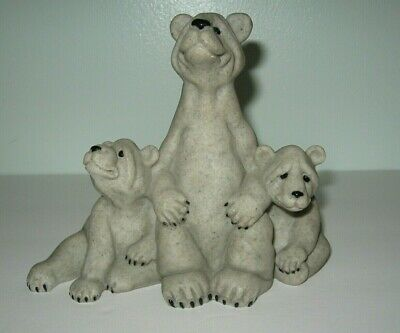 Quarry Critters Soapstone 3 Bears Figurines 1999