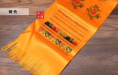 Tibetan Buddhism Mongolian Prayer Khata Hada Scarf  two row printing Yellow