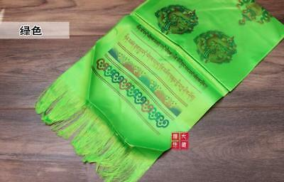 Tibetan Buddhism Mongolian Prayer Khata Hada Scarf  two row printing Green