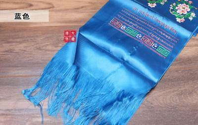 Tibetan Buddhism Mongolian Prayer Khata Hada Scarf  two row printing Blue