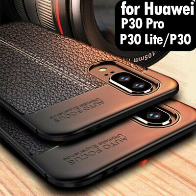 For Huawei P30 Pro Lite Hybrid Leather Rubber Soft Slim Thin Case Cover