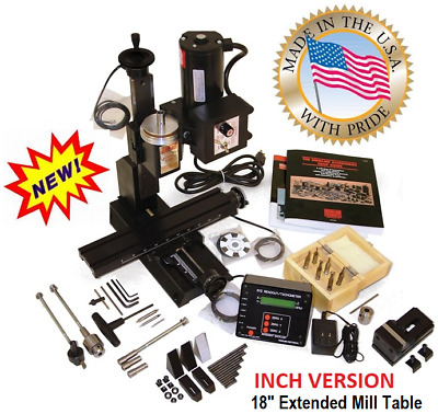 """Sherline 5400A-DRO INCH Mill Package A + 18"""" extended table + Oil reservoirs."""