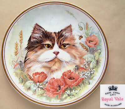 """Royal Vale: Cat & Poppies (Signed D Wallace): Gilt Salad Plate: 8¼"""" Dia."""