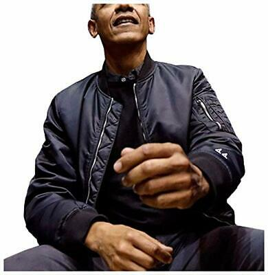 Barack Obama Flexed a '44' Manston Black Satin Bomber Stylist Jacket for Men