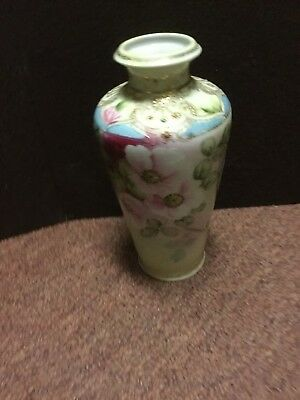 Vintage Hand Painted Nippon Vase with Floral Design & Gold Moriage  - 7 1/2""