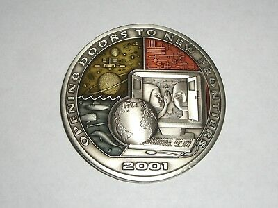 """Elegant Pewter Opening Doors To New Frontiers  2001 Medallion 3""""Dia Great Detail"""