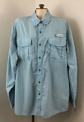 2ebf415d Magellan Outdoors Men's Fish Gear Mag Wick LS Button Down Shirt Ice Blue  Size XL