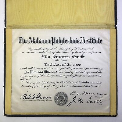 1936 Alabama Polytechnic Institute Bachelor Science Auburn Degree Diploma 1930s