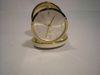 Vintage Service 2-Jewels Travel Alarm Clock Made in Germany With Case Mini
