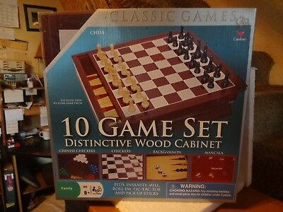 Cardinal-10 Game Set Classic Family Board Games in Distinctive Wood Cabinet  NEW