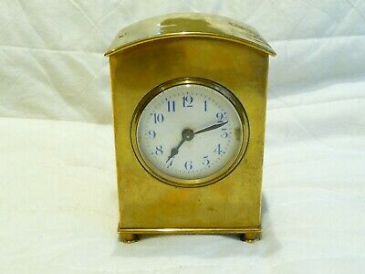 Antique French Unusual Small Brass Carriage Clock 105mm X 72mm Working Project