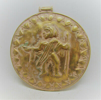 Scarce Ancient Persian Hammered Gold Gilded Pendant With Male Figure