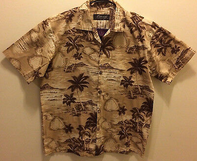 ebe7b4be FAVANT Mens Large Hawaiian Shirt, Short Sleeve Button Front Alhoa Tropical