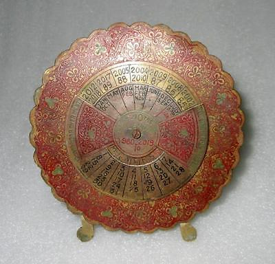 Vintage Old Indian Antique Brass 40 Years 1980-2019 Beautiful Perpetual Calendar