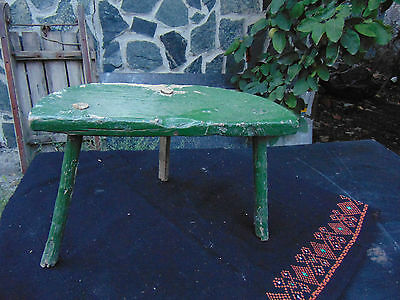 Antique Old Primitive Chair Green Painted Wooden Tripod Seat