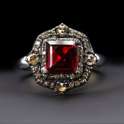 Garnet Diamond Cocktail Ring Natural Red Asscher Cut Square Vintage Style Rose