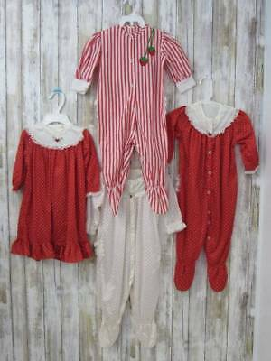Vintage Lot 4 Nylon Pajamas Gowns Size 12-18 Months Red White Ruffle Bottoms