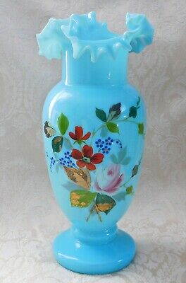 Beautiful Antique Hand-Painted Blown Glass Vase Intricate Shape