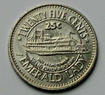 Steamboat Casino River Cruises 25 Cent Slot Machine Token with Emerald Lady Boat
