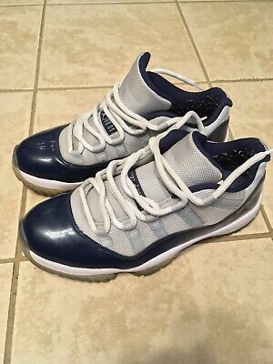 dedc49f2bc4 NIKE AIR JORDAN 11 XI Retro Low Georgetown Grey Navy US Size 8.5 ...