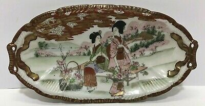 "Antique Japanese Kutani Hand Painted Porcelain 12"" Oval Plate Signed"