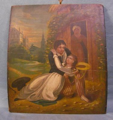 Early to Mid 19th Century Oil on Board Painting WOW!