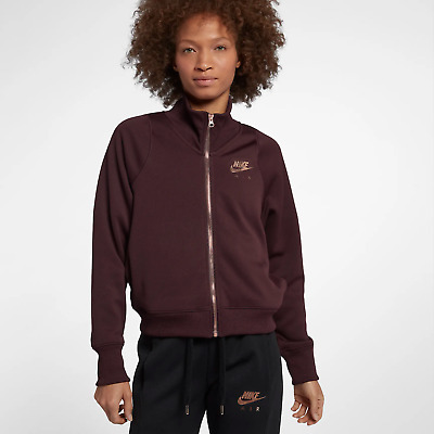 bde7bbf698d5 Nike Air N98 Women s Jacket M Burgundy Red Metallic Rose Gold Gym Casual