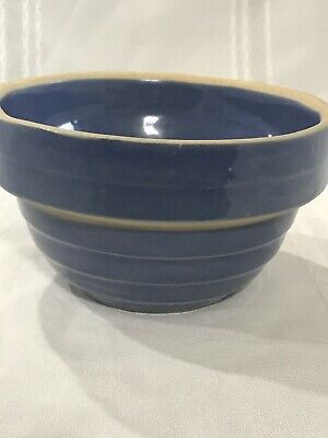 "VINTAGE BLUE USA 5"" Inch STONEWARE POTTERY MIXING BOWL SIGNED Excellent!"