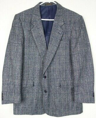 Oliver Hunt Men's size 44L Silk Houndstooth Blazer Sport Coat Jacket Blue