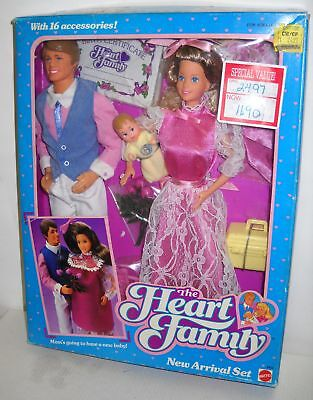 #304 NIB Vintage Mattel Heart Family New Arrival Set