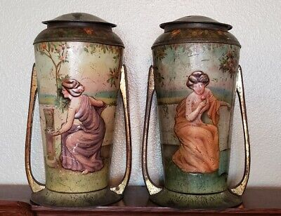 Pair of Early 1900's Art Nouveau Litho Tin Canisters