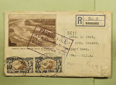 DR WHO 1936 NEW ZEALAND WHANGAREI REGISTERED TO USA PASSED FREE CUSTOMS  e07754