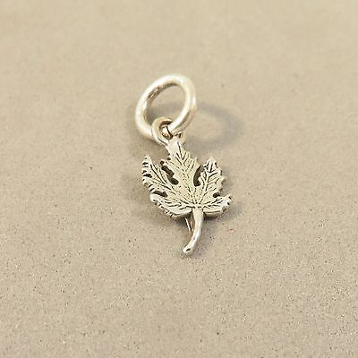 .925 Sterling Silver TINY MAPLE LEAF Charm NEW Pendant Canada Tree 925 GA70