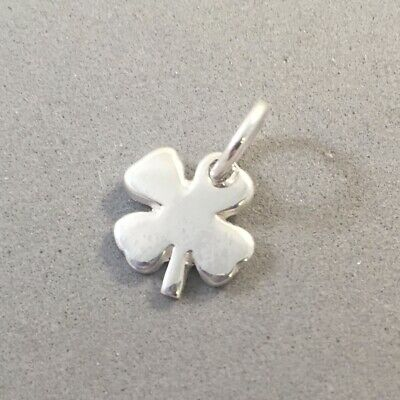 .925 Sterling Silver TINY 4 LEAF CLOVER CHARM NEW Pendant Shamrock 925 GA35