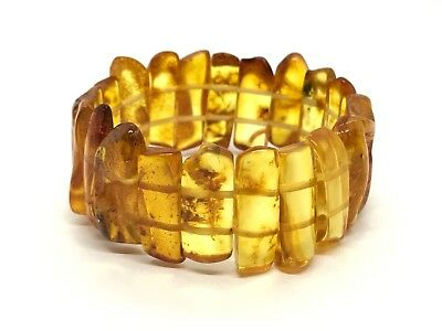 Real Natural Baltic Amber yellow beads bracelet with very small insect #3401