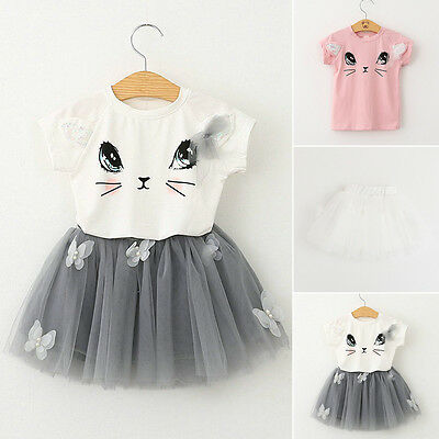 f71c83b2e 2PCS Kids Baby Girls Cat T-shirt Tops+Tulle Tutu Dress Skirt Outfits Clothes